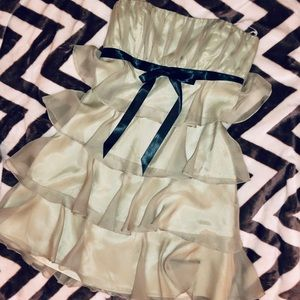 Amazing Strapless Party Dress! Rare: Celadon/Black